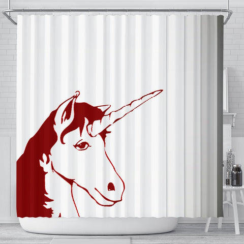 Red&White Unicorn Print Shower Curtain-Free Shipping