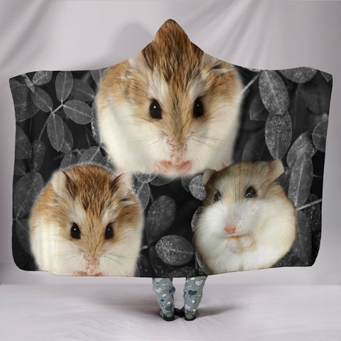 Roborovski Hamster On Black Print Hooded Blanket-Free Shipping