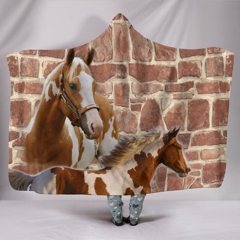 American Paint Horse Print Hooded Blanket-Free Shipping