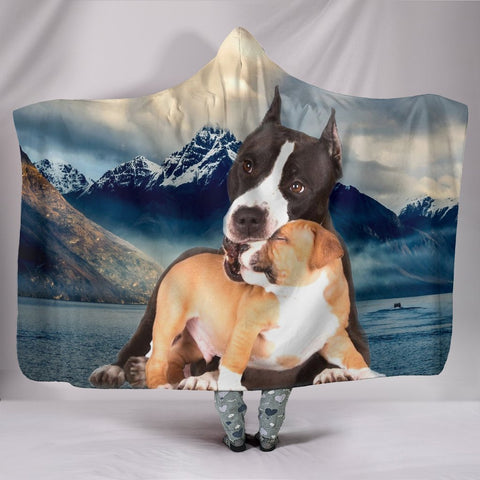 Pit Bull Terrier Print Hooded Blanket-Free Shipping