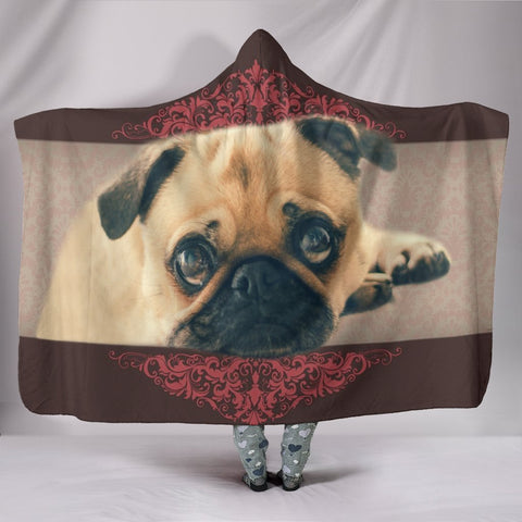 Pug dog Print Hooded Blanket-Free Shipping