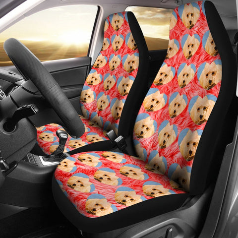 Poodle Dog On Hearts Print Car Seat Covers-Free Shipping