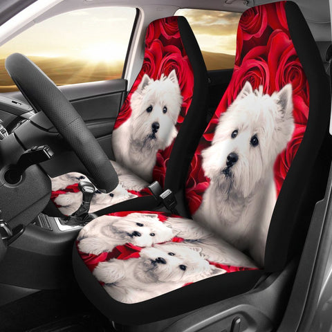 Westie On Rose Print Car Seat Covers-Free Shipping