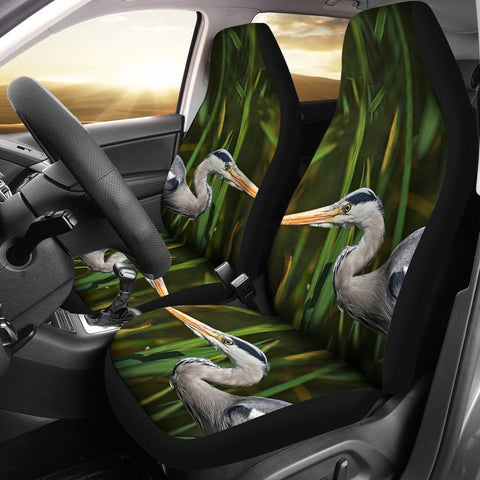 Grey heron Bird Print Car Seat Covers-Free Shipping