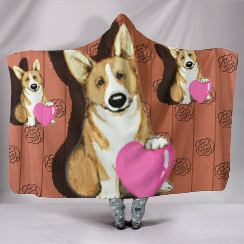 Pembroke Welsh Corgi Love Print Hooded Blanket-Free Shipping
