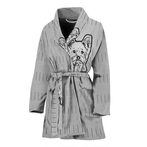 Yorkie Dog Print Women's Bath Robe-Free Shipping