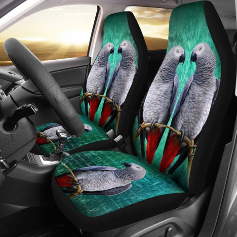 African Grey (Congo Grey Parrot) Parrot Print Car Seat Covers-Free Shipping