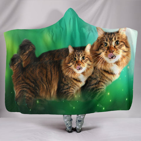 Lovely American Bobtail Cat Print Hooded Blanket-Free Shipping