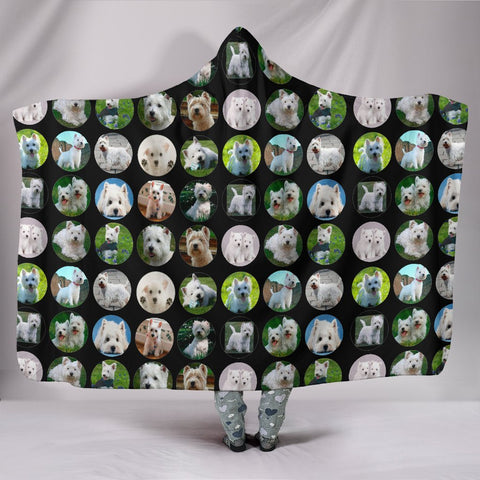 West Highland White Terrier Dog Pattern Print Hooded Blanket-Free Shipping