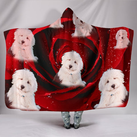 Old English Sheepdog Print Hooded Blanket-Free Shipping