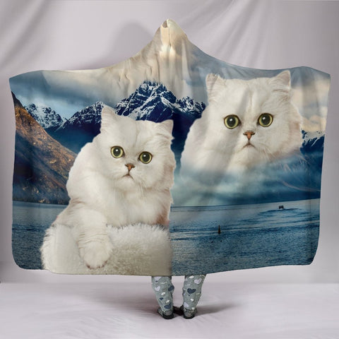 Cute White Persian Cat Print Hooded Blanket-Free Shipping