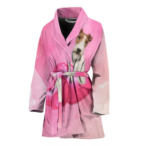 Wire Fox Terrier dog Print Women's Bath Robe-Free Shipping