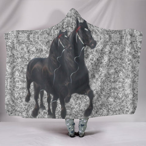 Percheron horse Print Hooded Blanket-Free Shipping
