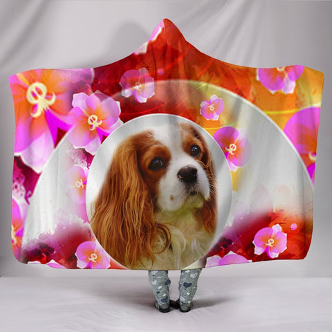 Cavalier King Charles Spaniel Floral Print Hooded Blanket-Free Shipping