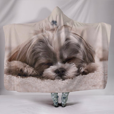 Cute Shih Tzu Dog Print Hooded Blanket-Free Shipping