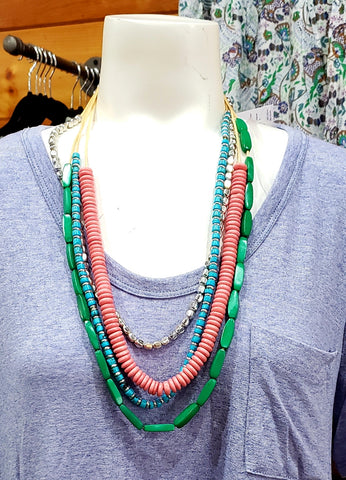 Multi Color Boho Beaded Necklace