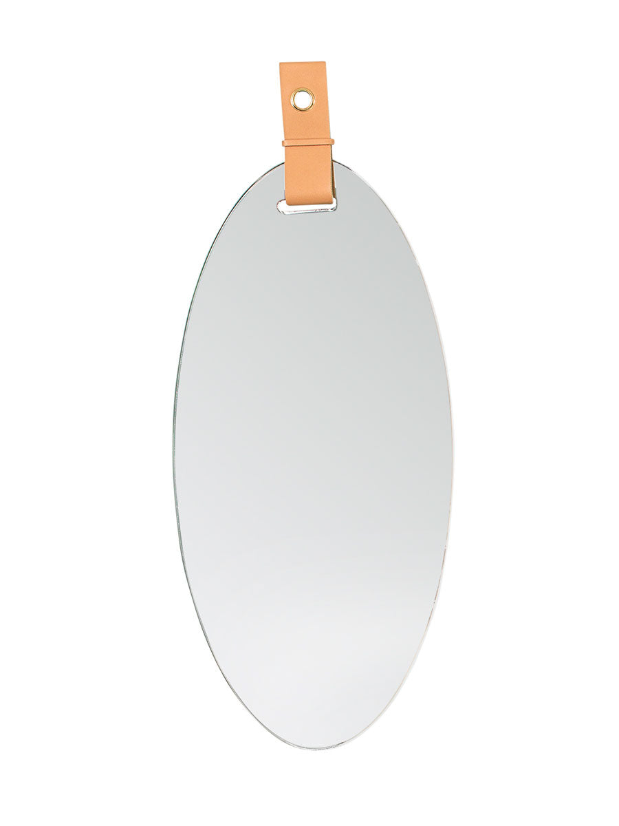 ART MIRROR W/ LEATHER STRAP - D