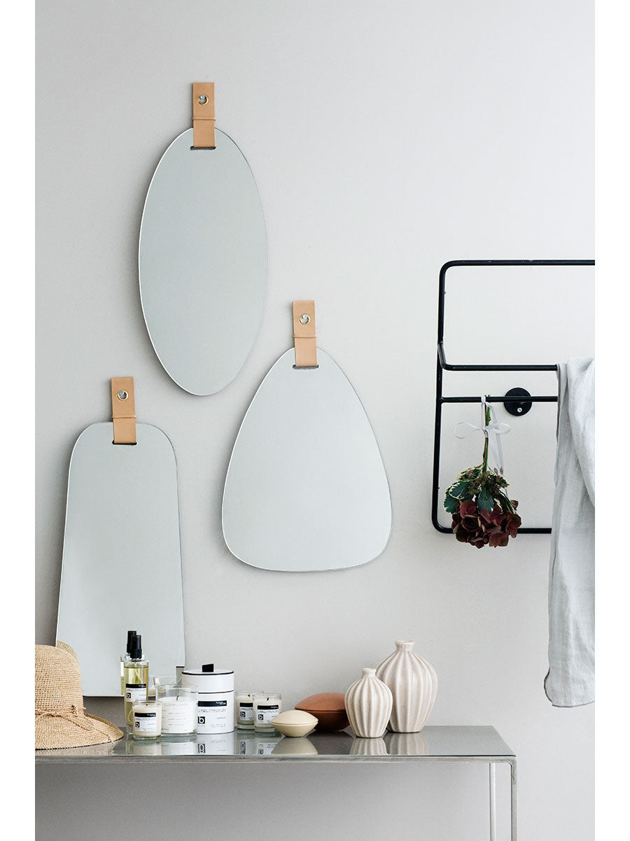 ART MIRROR W/ LEATHER STRAP - E