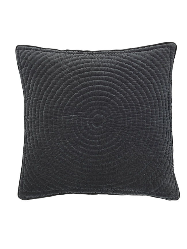 QUILTED VELVET CUSHION - PEAT