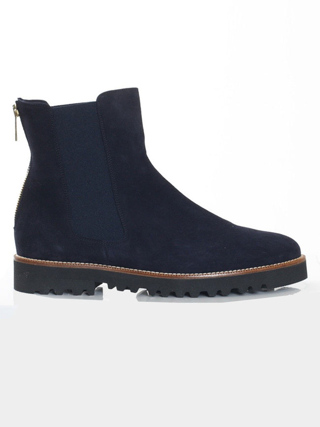NAVY SUEDE CAMO BOOTS