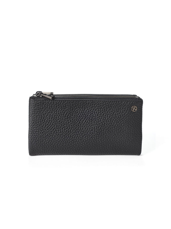 FOLD OVER PURSE - BLACK/GUNMETAL