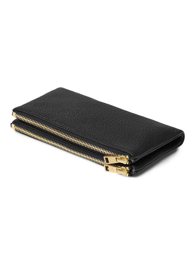 FOLD OVER PURSE - BLACK/GOLD
