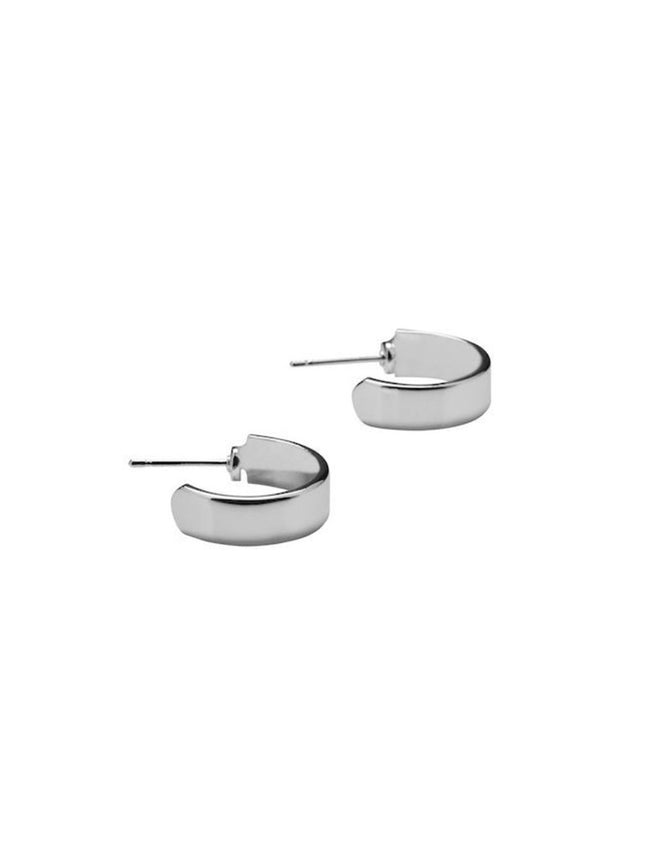 ADVA MINI HOOP EARRINGS - SILVER POLISHED
