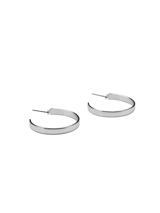 AFRA HOOP EARRINGS - SILVER MATTE