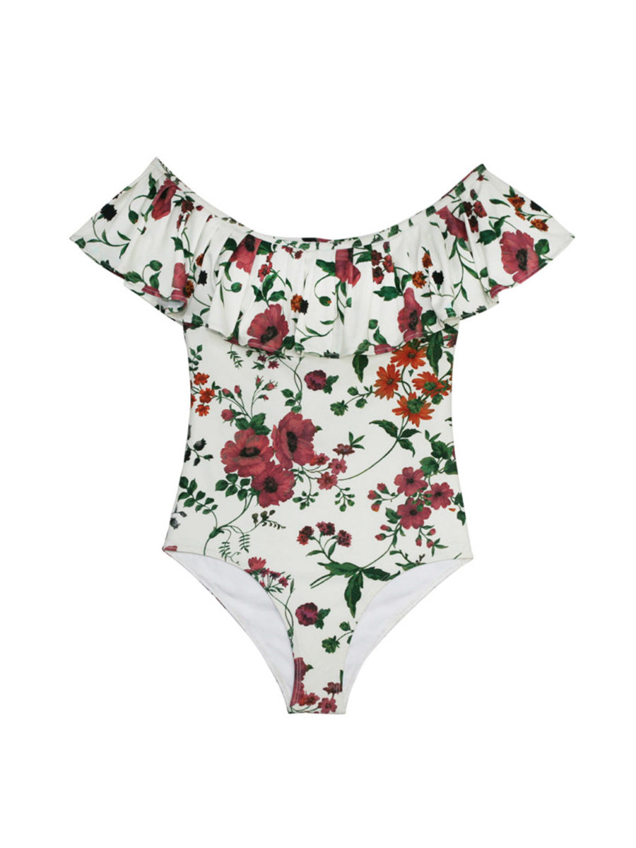 BECCA FLORAL FRILL SWIMSUIT