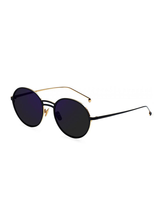 YAEL ROUND SUNGLASSES - GOLD + BLACK