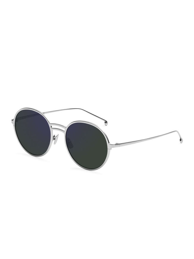 YAEL ROUND SUNGLASSES - SILVER + ARMY GREEN