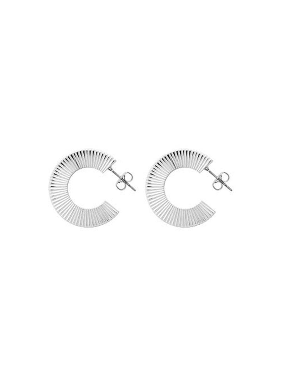 ANNIINA PLEAT HOOPS - SILVER POLISHED