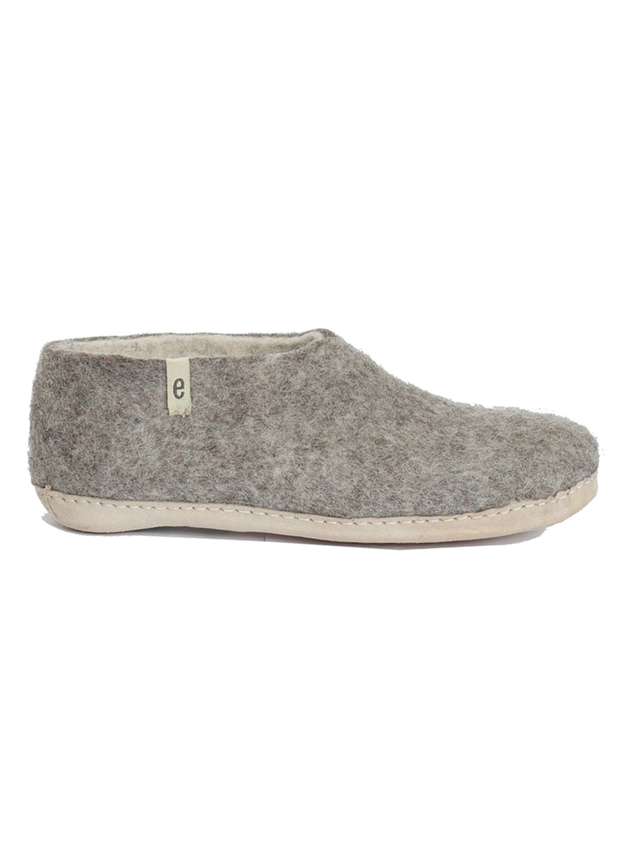 WOOL SLIPPER SHOES - GREY