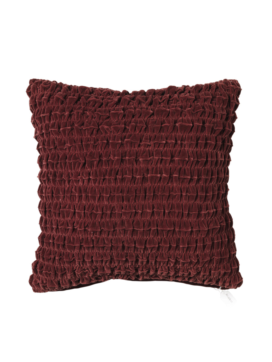 KROLL RUCHED VELVET CUSHION - BURGUNDY