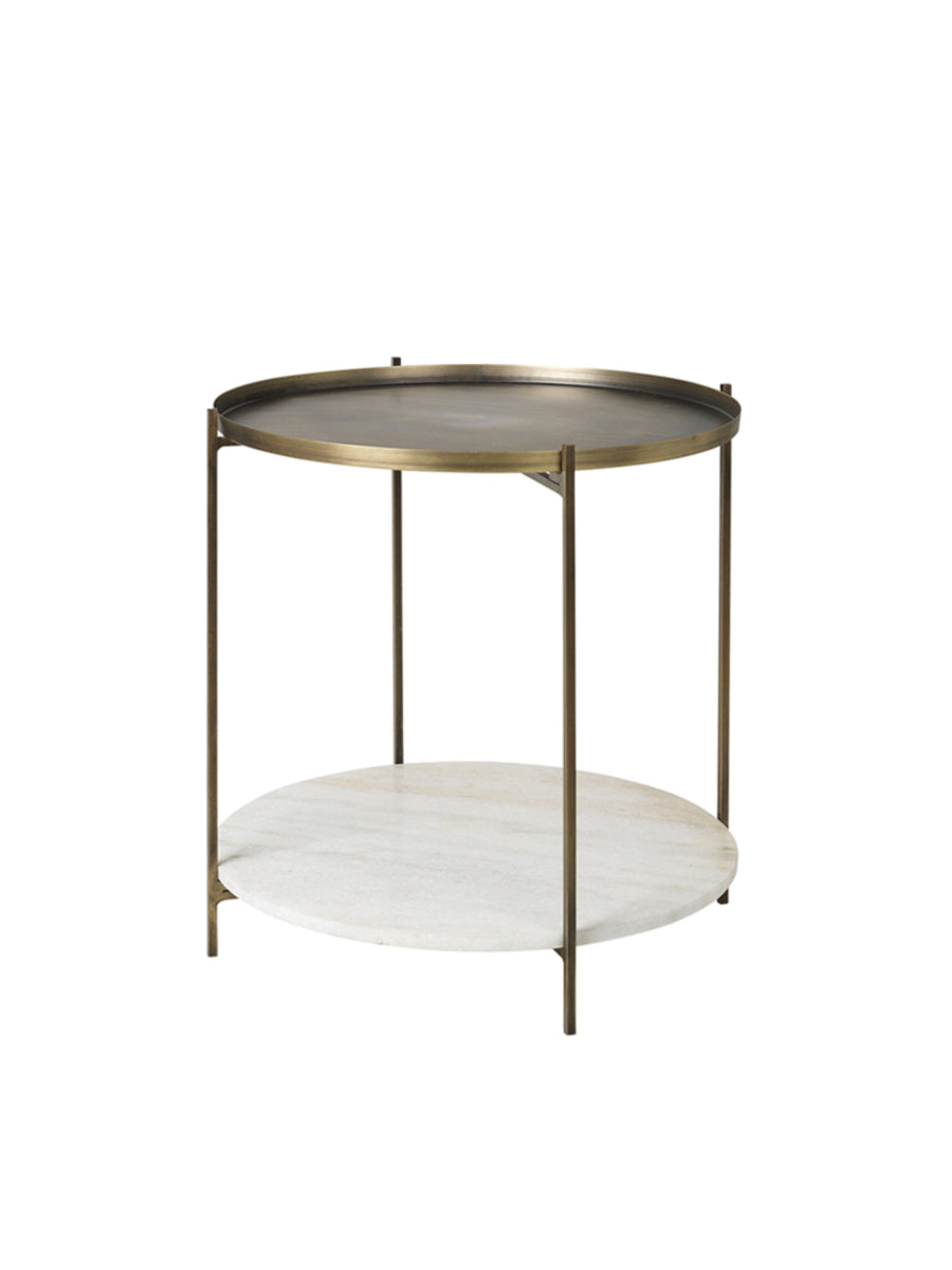 TRISTAN ROUND MARBLE AND BRASS TABLE
