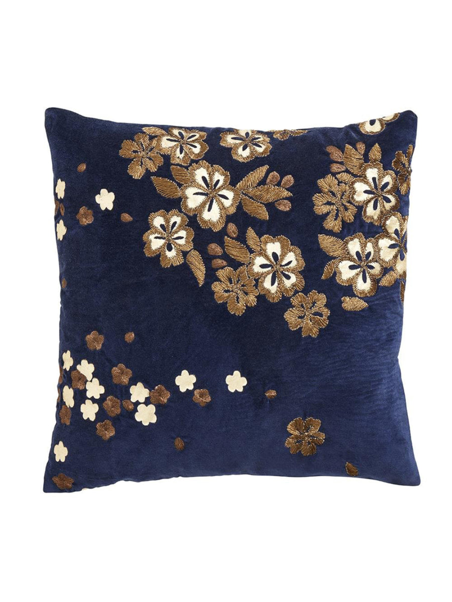 EMBROIDERED VELVET FLORAL CUSHION
