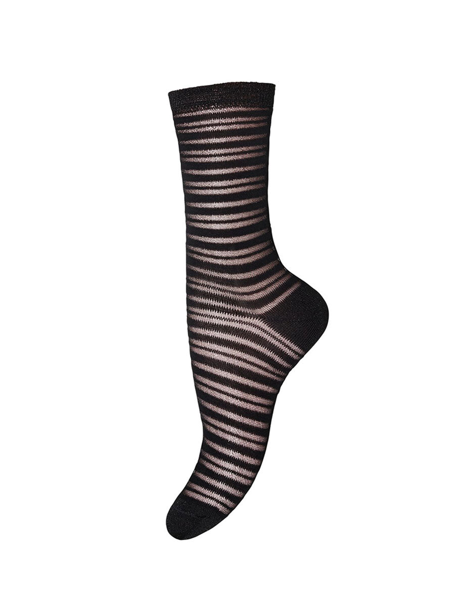 NICOLE GLITTER STRIPE ANKLE SOCKS - BLACK