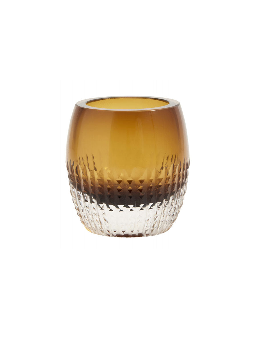 COLOURED GLASS T-LIGHT VOTIVE - AMBER