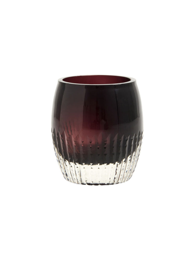 COLOURED GLASS T-LIGHT VOTIVE - PURPLE