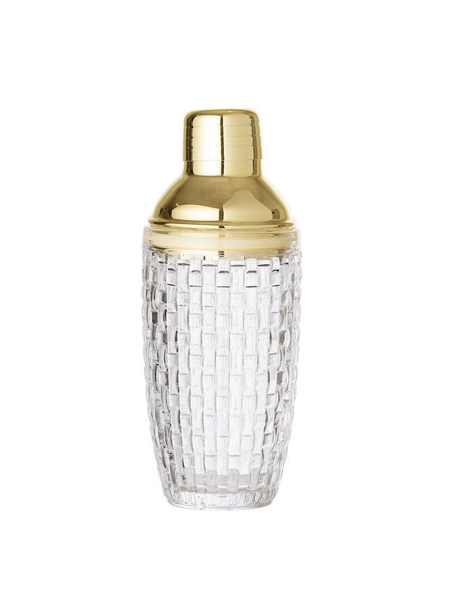 GLASS AND BRASS DECO COCKTAIL SHAKER