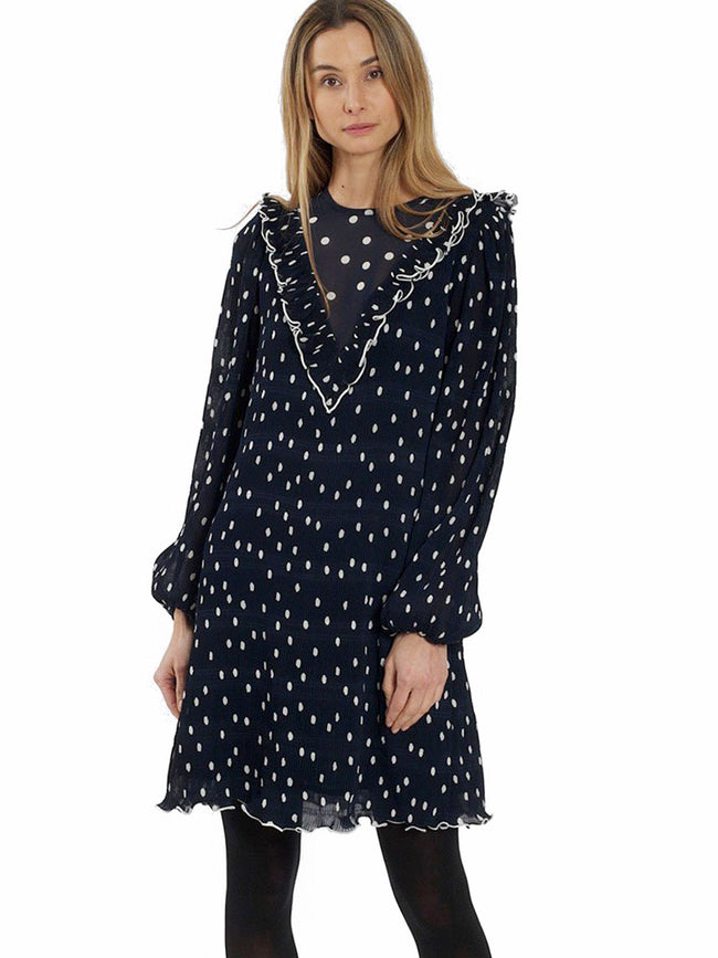 PLEATED POLKA MINI DRESS