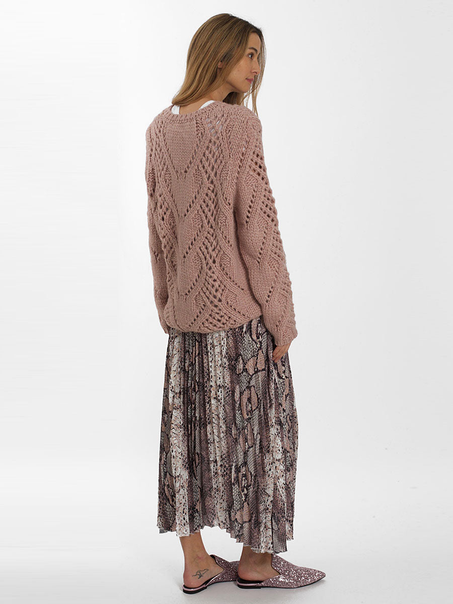 BERGAMO HAND KNIT JUMPER - ROSE