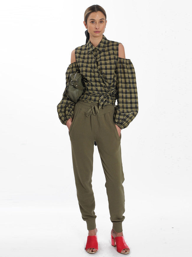 SEERSUCKER CHECK WRAP SHIRT