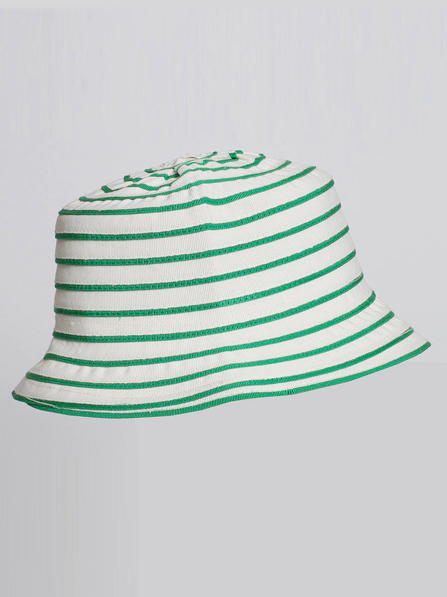 ANGELICA BUCKET HAT  GREEN STRIPE