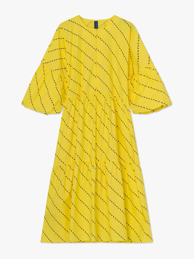 AMBER TIERED DRESS - YELLOW