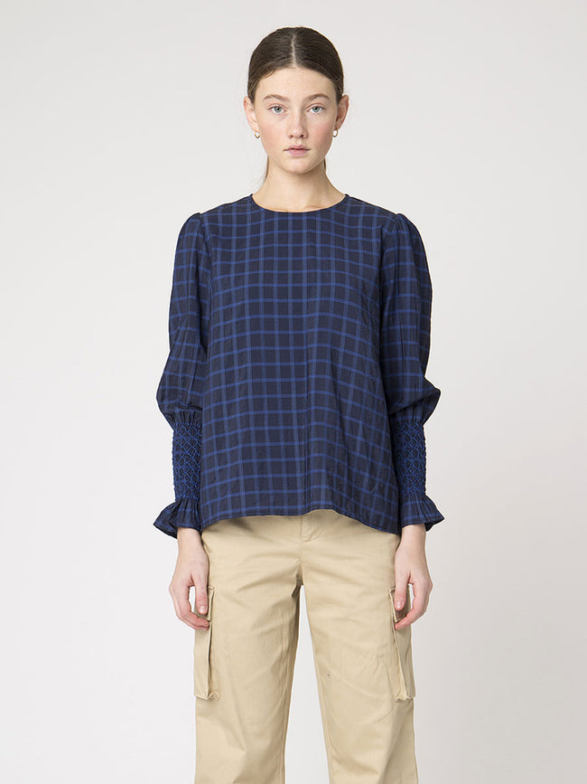 ANABELLE CHECK BLOUSE - NAVY