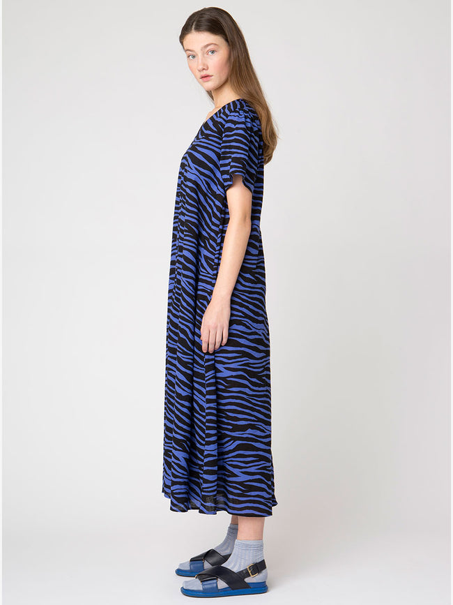 UMANI ZEBRA DRESS - CROWN BLUE