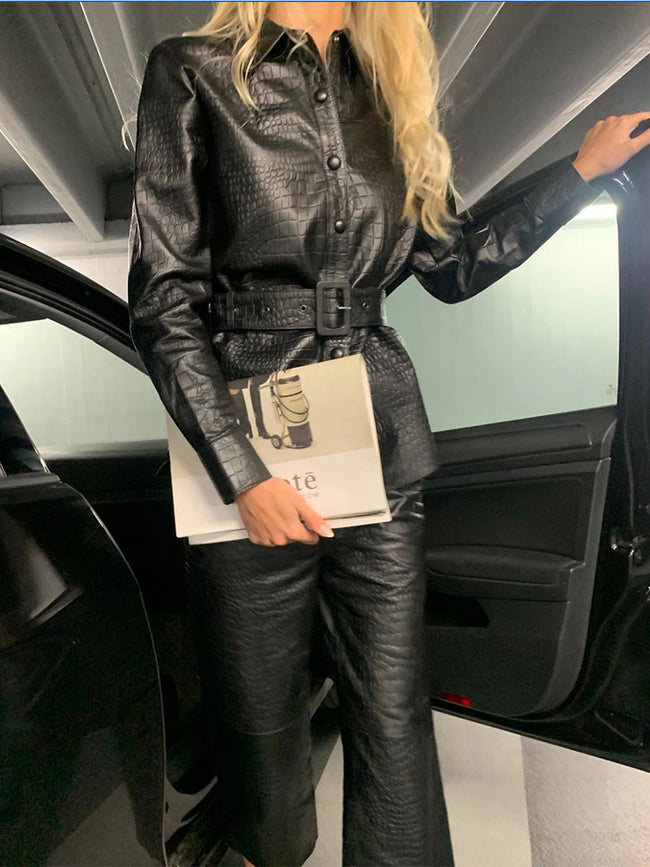 KYLIE LEATHER TROUSERS - BLACK
