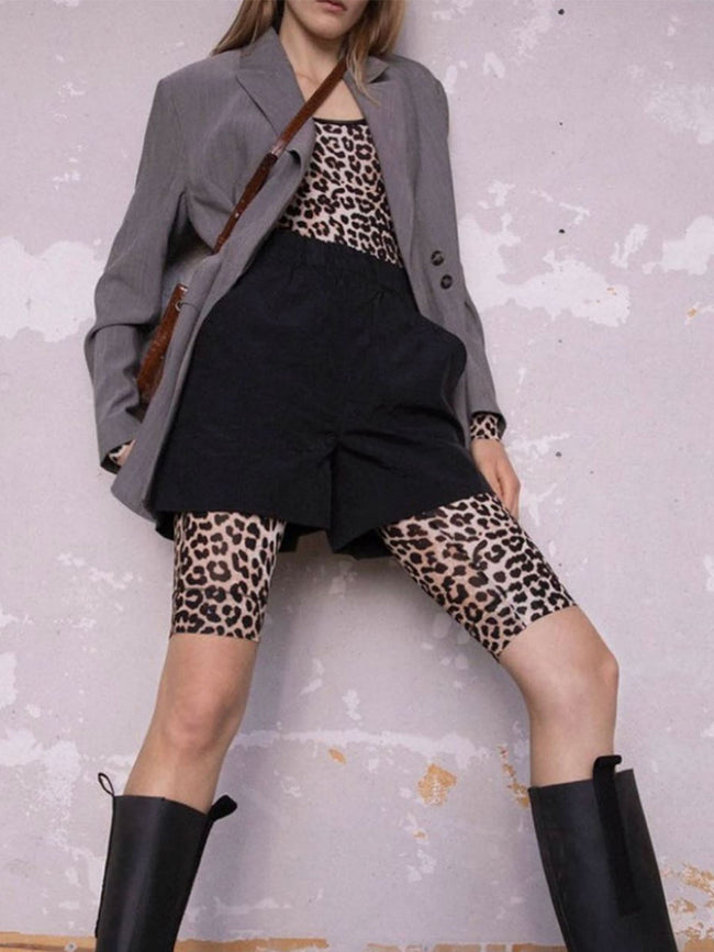RAYON SHORT LEGGINGS - LEOPARD
