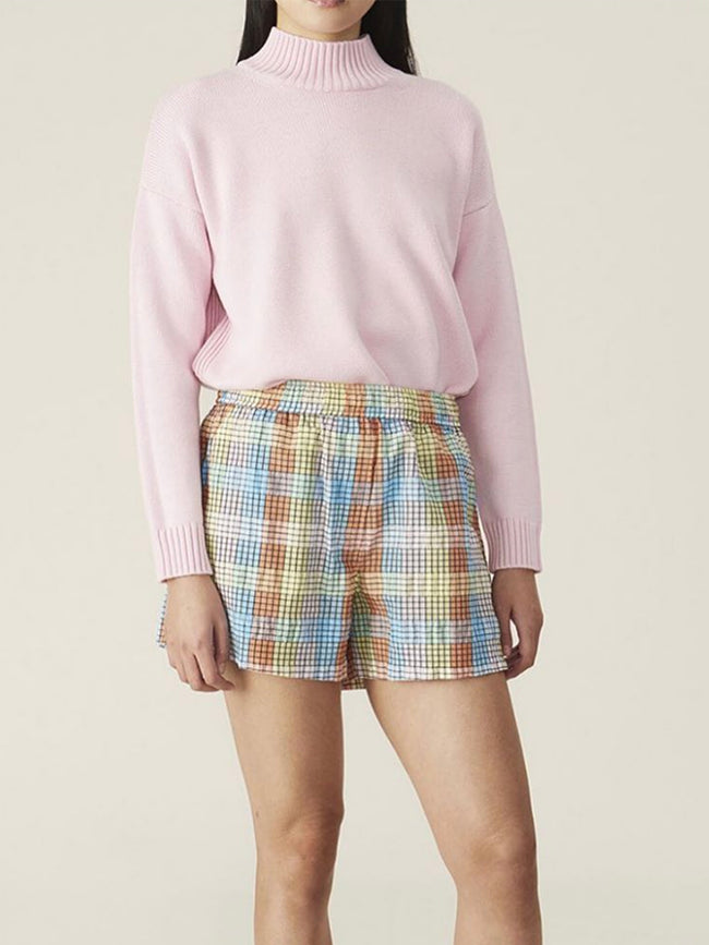 SEERSUCKER CHECK SHORTS - MULTICOLOUR